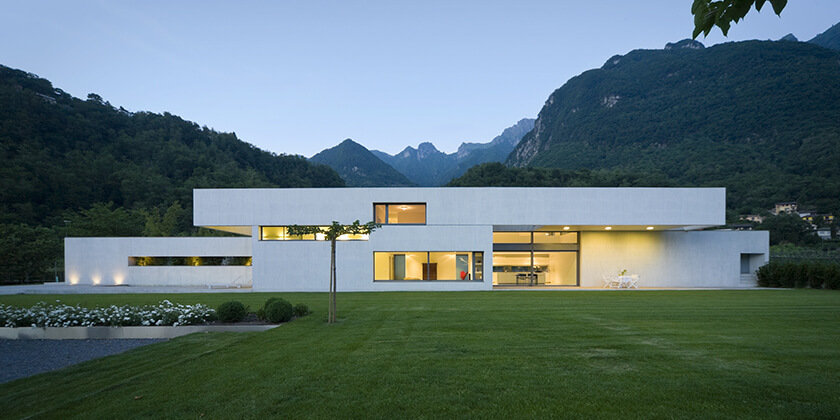 Modern two storey house with garden